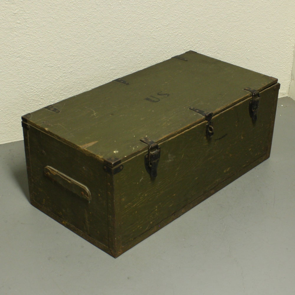 Vintage wood box wood chest foot locker lid hinged lid