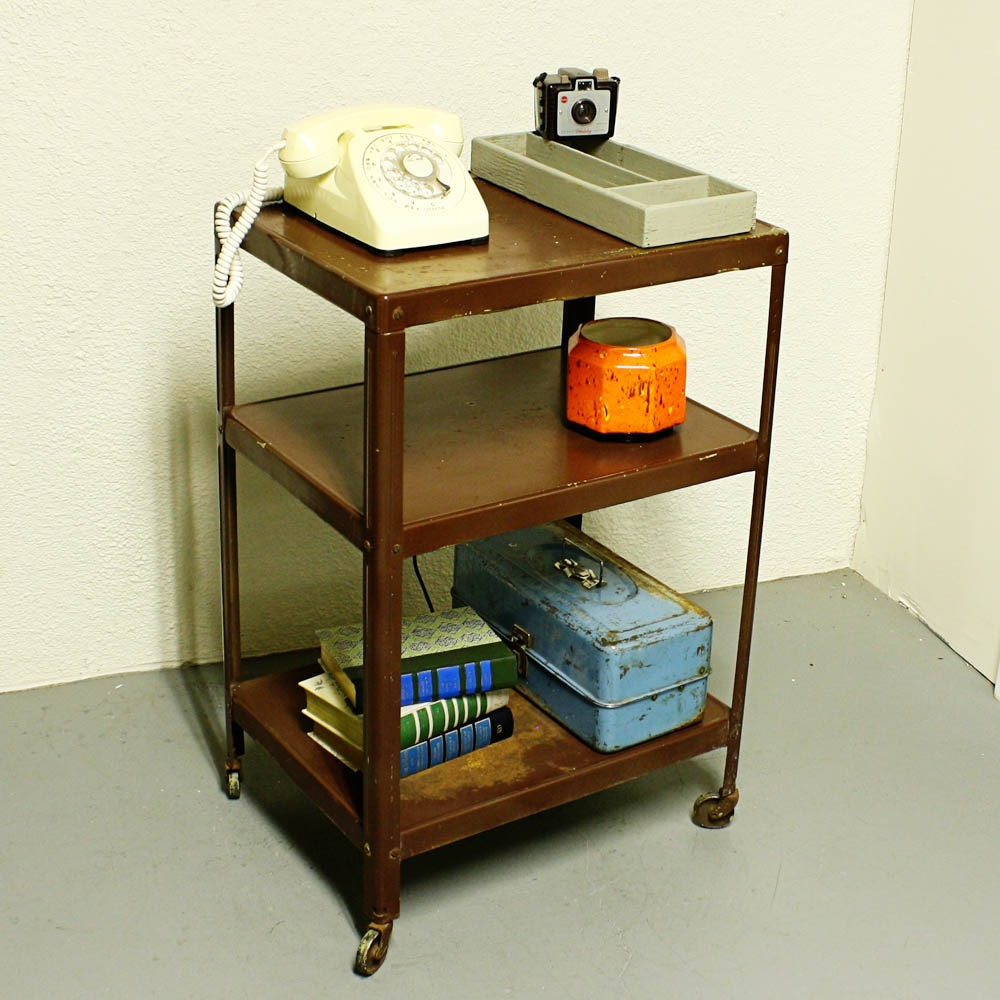 Vintage Metal Cart Serving Cart Kitchen Cart Red: Vintage Metal Cart Serving Cart Kitchen Cart Brown