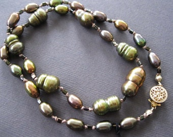 Golden Green Bronze Baroque Pearl Necklace - Byzantium Baroque Necklace  -Sample Sale