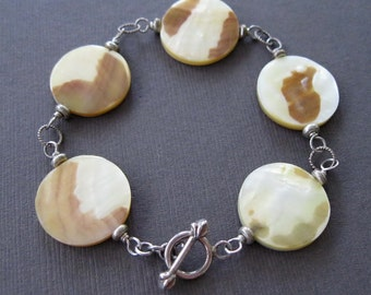 Rustic Tiger Shell Tan Cream Mother of Pearl Disk Sterling Toggle Bracelet Earrings - Sample Sale