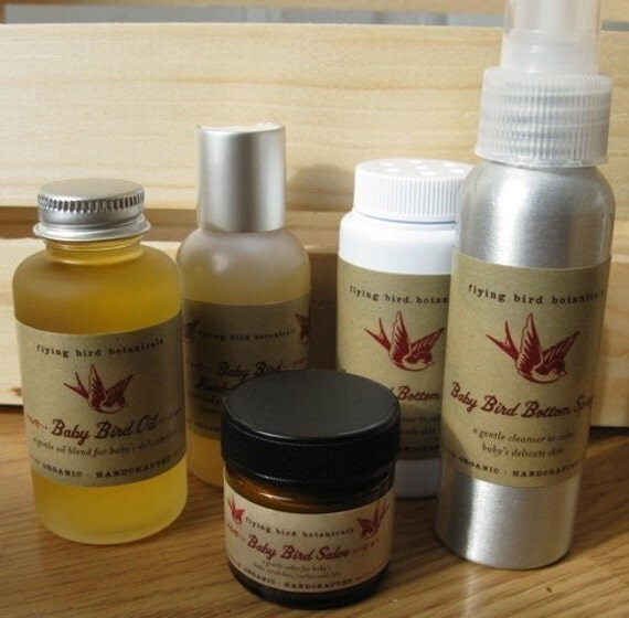 baby bird starter kit with our new baby bird bottom powder...natural, organic skin care for baby