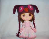 Crocheted Owl Hat for Blythe Doll