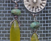Gearhead fine silver post earrings with turquoise and lemon quartz drops