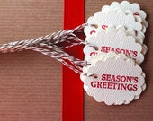 CLEARANCE Season's Greetings. Scalloped Oval Gift Tags. 20 pack of tags.