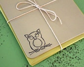 Miss Owl. Owl Note Card Flats. Set of 5. Pebble.