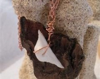 Drifting Away Necklace (driftwood, shell and copper)