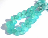 Half Strand Caribbean Apatite Aqua Blue Chalcedony Faceted Heart Briolettes 11 - 12mm approx