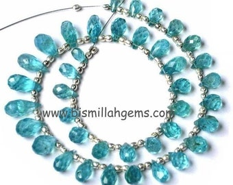 8 inches - Caribbean Waters Apatite Faceted Drop Briolettes Size 6x4 to 11x5mm approx.