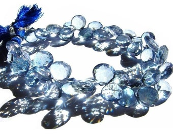 1/2 Strand - Blue Mystic Quartz Faceted Heart Briolettes Size - 9 - 10mm
