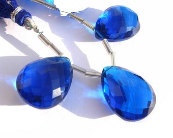 3 Piece Set - AAA Cobalt Blue Quartz Faceted Pear Briolettes 20x15mm approx Matched Pair and a Focal Pendant