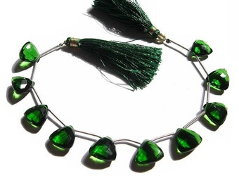 10 Pieces/5 Matched Pair of AAA Chrome Green Quartz Faceted Trillion Briolettes 12x12mm approx