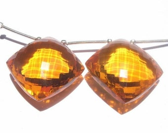 Matched Pair of Large 27x27mm AAA Madeira Quartz Faceted Cushion Shaped Briolettes