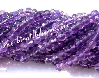 Buy Wholesale lot - 10x14 - 140 Inches AAA Amethyst Micro Faceted Rondelles Size 3.5mm (Natural stone wholesale price)