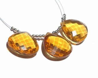 3Pc set of AAA Madeira Quartz Faceted Heart Briolettes 19x19mm - 21x21mm (Matched Pair n a Focal pendant)
