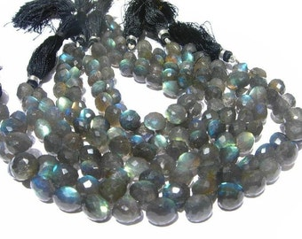 20 Pcs Blue flashy Labradorite micro faceted onion briolettes 7- 8mm approx