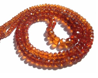 1/2 Strand 8 Inches AAA Genuine Hessonite Garnet Micro Faceted Rondelles Size 2.5 - 6mm approx
