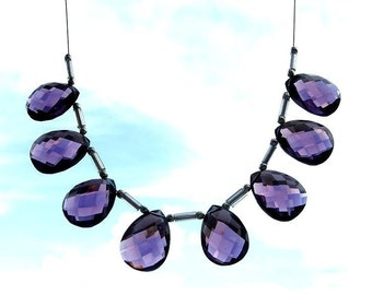 8 Pcs as 4 Matched Pair AAA Amethyst Faceted Pear Briolettes Size 16x12mm Approx Finest Quality Wholesale Price