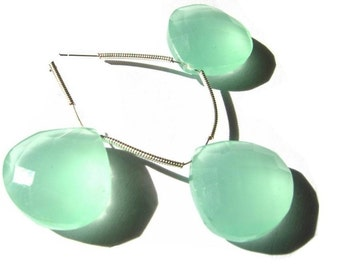 3 Piece set of 18mm Aqua Green Chalcedony Faceted Heart Briolette- Matched pair and a focal pendant