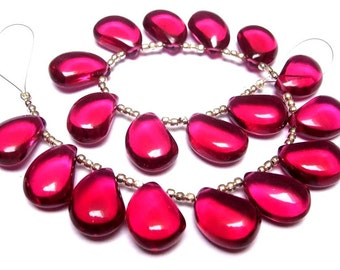 Wholesale - Super Finest AAA Rubelite Hot Pink Quartz Smooth Polished Mango Shaped Fancy Briolettes Size 16x11mm approx, Half Strand