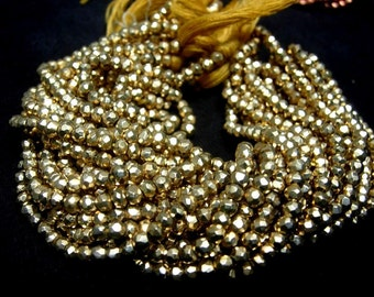 Buy Wholesale lot  - 10 strands Finest Quality Mystic Golden Yellow Pyrite Micro Faceted Rondelles Length 14 Inches Size 3.5mm approx