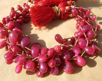 8 Inches - Genuine Ruby Smooth Pear Briolettes Size 7x6 - 12x9mm approx Finest Quality Wholesale price