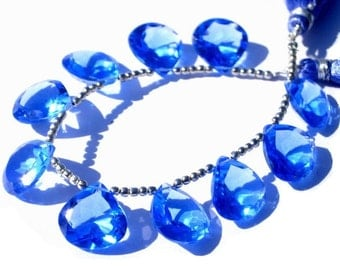 25% Off Sale - AAA Tanzanite Blue Quartz Faceted Heart Briolettes 10 Pcs 5 Matched pair Size 15x15mm approx High Quality, Great Price