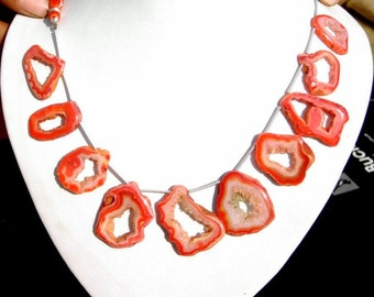 8 Inches - AAA Orange Druzy Agate Polished Geode Slice beads W/ 10 Pieces