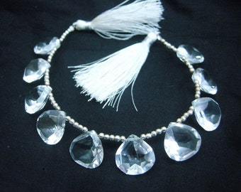 AAA Genuine Rock Crystal Quartz Faceted heart Briolettes Size 15x15mm 10 Pieces 5 Matched Pair