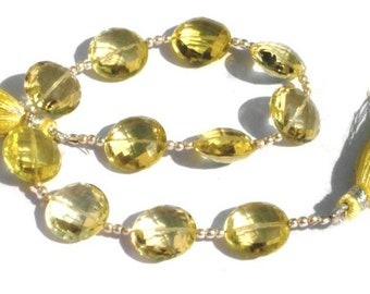 1/2 Strand - Highly Lustrous, Genuine AAA Lemon Quartz Straight Drilled Faceted Coin Beads Size 14x14mm Approx