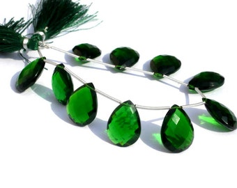 8 Inches - AAA Chrome Green Quartz Faceted Pear Briolettes 10 Pieces 5 Matched Pair Size 19x14mm