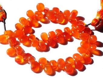 Full 8 Inches Strand - Finest Quality Juicy Orange Genuine Carnelian Smooth Pear Briolettes Size 7.5x9 to 10x7mm Wholesale Price