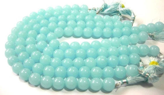 1/2 Strand - AAA Aqua Blue Chalcedony smooth round beads Size 12mm approx