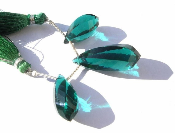 AAA Teal Blue Quartz Faceted Twisted Drop Briolettes 3 Piece Set Matched Pair n a Focal Pendant