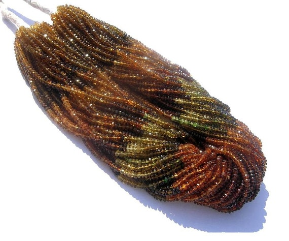 AAA Natural Petro Tourmaline Faceted Rondelles Full 14 Inches Strand Size - 3.5mm - 4mm Approx