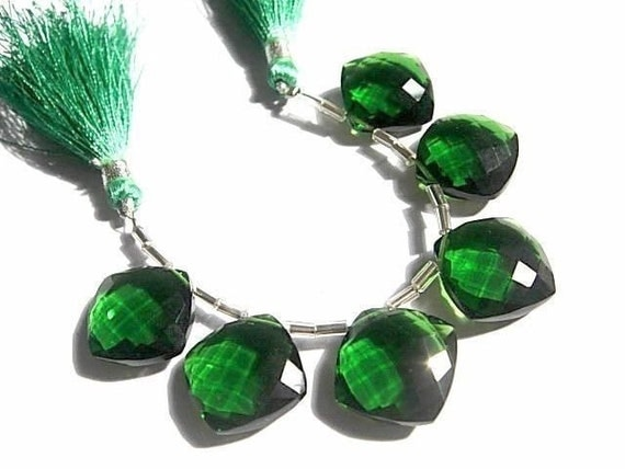 Gorgeous 15mm AAA Chrome Green Quartz Faceted Cushion Briolettes 6 Pieces 3 Matched pair