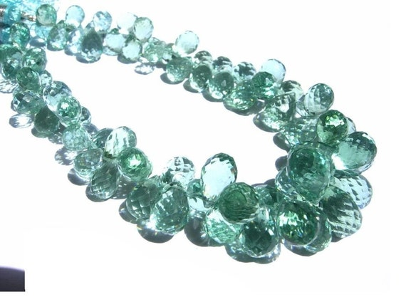 Outrageous Sage Green Quartz Micro Faceted Tear Drop Briolettes Half strand/4 inches Size- 8x5 - 10x7mm approx