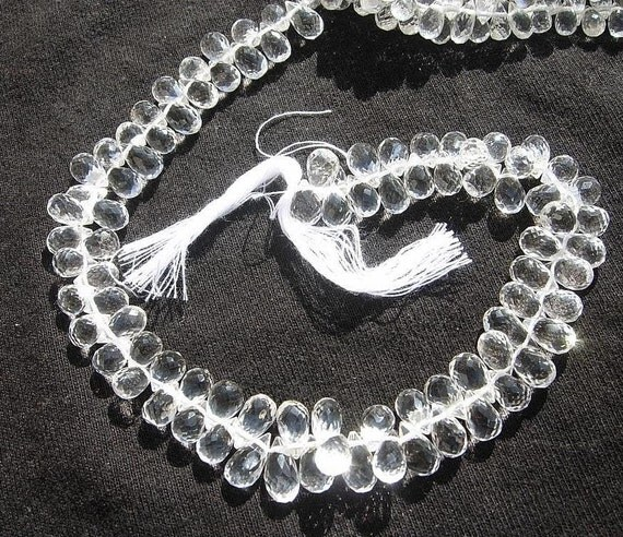 1/2 Strand W/ 40 Pcs- Sparkling White Topaz Micro Faceted Tear Drop Briolettes Size 8x4mm approx
