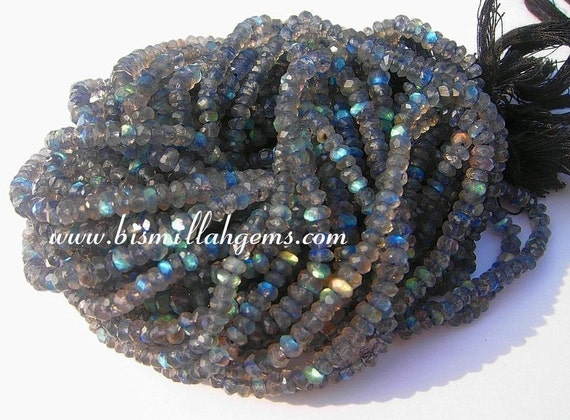 Blue flashy Labradorite micro faceted rondelles 3.5mm full 14 inch strand