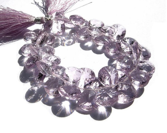 1/2 Strand - Super Finest Quality AAA Pink Amethyst Concave Cut Heart Briolettes Size 10.5 - 11mm approx