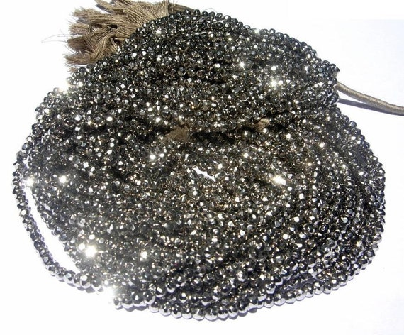 Super Finest Mystic Metallic Silver Pyrite Micro Faceted Rondelles Length 14 Inches Size 3.5mm approx