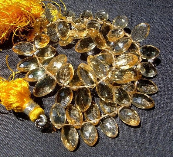 Full 7 Inches Strand Finest Quality Natural Citrine Faceted Marquise Briolettes Size 12x6 - 10x5mm approx