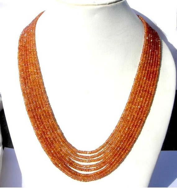 25% off - Multi Strand Necklace of Finest Quality Natural Songea Sapphire Faceted Rondelles, 8 Strands, 17 - 19 Inches 2.5 -3.75mm Approx