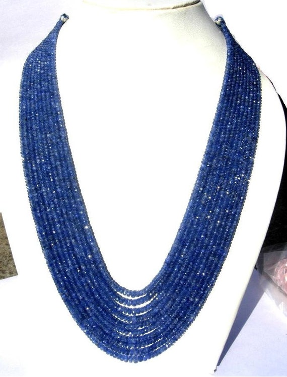 Get 25% Discount - Full 17 Inches Super Finest Burma Blue Sapphire Micro Faceted Rondelles Size 2.5 to 5mm approx