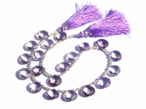 1/2 Strand - Super Finest Genuine AAA Pink Amethyst Faceted Heart Briolettes Calibrated Size 12x12mm 10 Pieces 5 Matched Pair