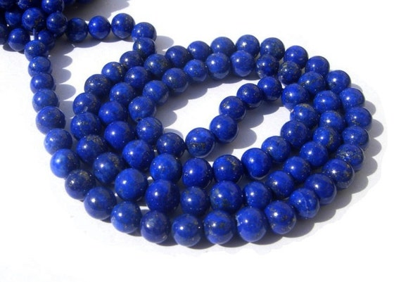 Full 16 Inches - Natural Undyed AAA Lapis Lazuli Smooth Polished Round Beads Size 3.5 - 4.5mm approx
