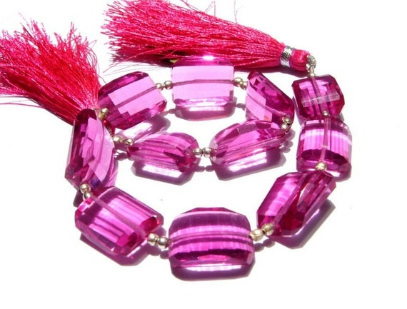 8 Inches -  Rubelite Pink Quartz Step Cut Faceted Nuggets Size 14x9 - 16x12mm approx