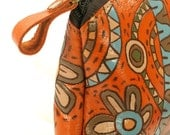 Bag Purse Orange Leather - The Amusement land and Jazzy Flowers