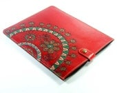 ipad case leather / red flower