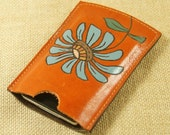 Leather case for iPhone, iTouch ,iPod, Blackberry ,cell phone cover - Orange Gerbera Daisy Flower
