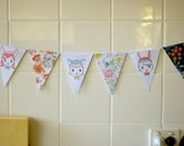 Flowers, illustrated animal girls, vintage-style Garland / Bunting / Banner (DIY PDF Craft Project)